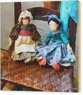 Two Colonial Rag Dolls Wood Print