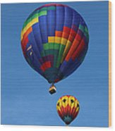 Two Colorful Balloons Wood Print