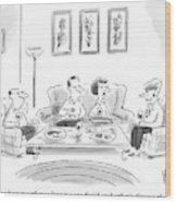 Two Couples Are Sitting Around A Coffee Table Wood Print
