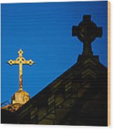 Two Crosses In Jerusalem Wood Print