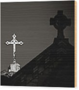 Two Crosses In Jerusalem In Black And White Wood Print