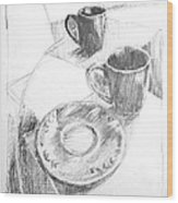 Two Cups And A Saucer Wood Print