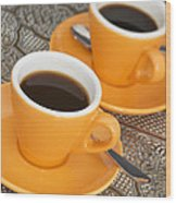 Two Cups Of Espresso Wood Print