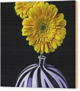 Two Daises In Striped Vase Wood Print