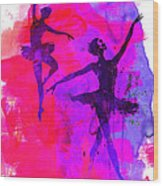 Two Dancing Ballerinas 3 Wood Print