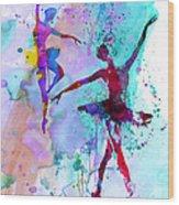 Two Dancing Ballerinas Watercolor 2 Wood Print