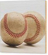 Two Dirty Baseballs Wood Print