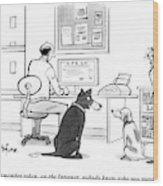 Two Dogs Speak As Their Owner Uses The Computer - Wood Print