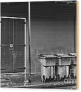 Two Doors And Three Cans Mono Wood Print