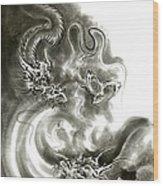 Two Dragons Gold Fantasy Dragon Design Sumi-e Ink Painting Dragon Art Wood Print