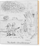 Two Firemen Are Seen With A Fire Hose Wood Print