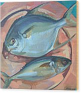 Two Fish On A Copper Platter Wood Print