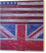 Two Flags American And British Wood Print