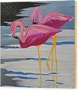 Two Flamingo's In Acrylic Wood Print
