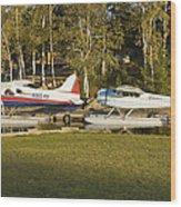 Two Float Planes On Moosehead Lake Near Greenville Maine  Wood Print