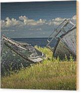 Two Forlorn Abandoned Boats On Prince Edward Island Wood Print
