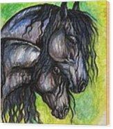 Two Fresian Horses Wood Print