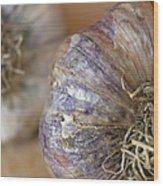 Two Garlic Heads, Close-up Wood Print