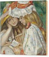 Two Girls Reading Wood Print