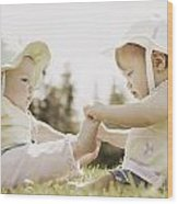 Two Girls Sit Together Wood Print