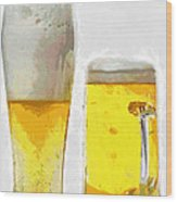 Two Glass Of Beer Painting Wood Print