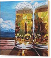 Two Glasses Of Beer With Mountains Wood Print