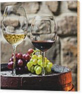 Two Glasses Of Red And White Wine In Wood Print