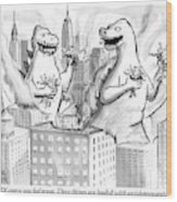 Two Godzillas Talk To Each Other Wood Print