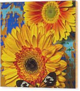 Two Golden Mums With Butterfly Wood Print by Garry Gay