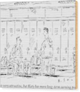 Two Guys Talk About Girls In The Locker Room Wood Print