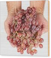 Two Handfuls Of Red Grapes Wood Print