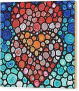 Two Hearts - Mosaic Art By Sharon Cummings Wood Print