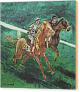 Two Horse Race Wood Print