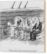 Two Imprisoned Rowers In A Ship Sit Next Wood Print