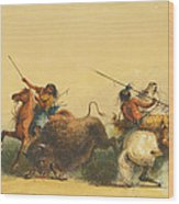 Two Indians Killing A Buffalo Wood Print