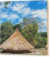 Two Indigenous Huts Wood Print