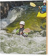 Two Kayakers On A Fast River Wood Print