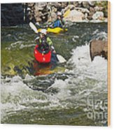 Two Kayakers On A Whitewater Course Wood Print