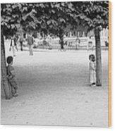 Two Kids In Paris Wood Print