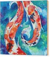 Two Koi Fish Wood Print