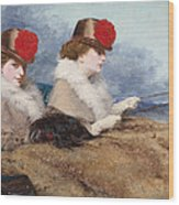 Two Ladies In A Carriage Ride Wood Print