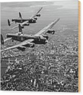 Two Lancasters Over London Black And White Version Wood Print