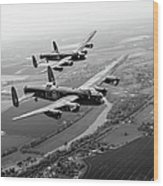 Two Lancasters Over The Upper Thames Black And White Version Wood Print