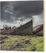 Two Large Boats Abandoned On The Shore Wood Print