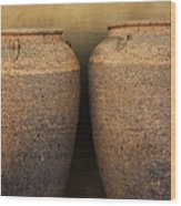 Two Large Garden Urns Wood Print