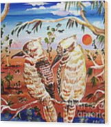 Two Laughing Kookaburras In The Outback Australia Wood Print