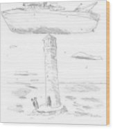 Two Lighthouse Keepers Look Up At A Boat That Wood Print