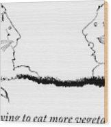 Two Lions Sit Conversing Wood Print