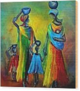 Two Little Girls Carrying Water Wood Print