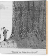 Two Lumberjacks With Axes Stare Up At A Giant Wood Print